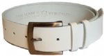 "38mm Bucklebox White Leather Belt with Detachable Buckle 1½"" wide"